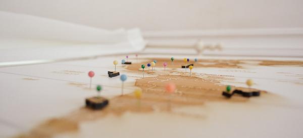 mappa, viaggi, puntine, destinazioni, viaggi, mete